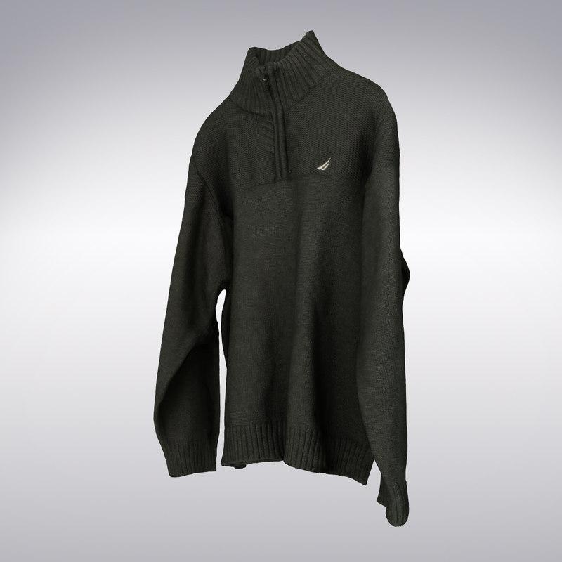 3d model men s collar sweater