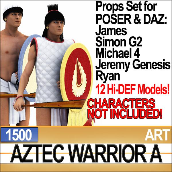 3ds props set daz aztec