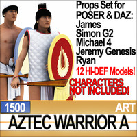 Props Set Poser Daz for Aztec Warrior A 1500