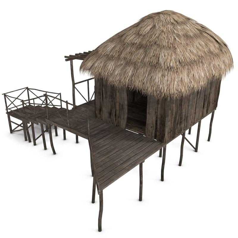 3ds max beach bungalow