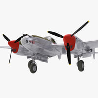 lockheed p38 3 rigged 3d max