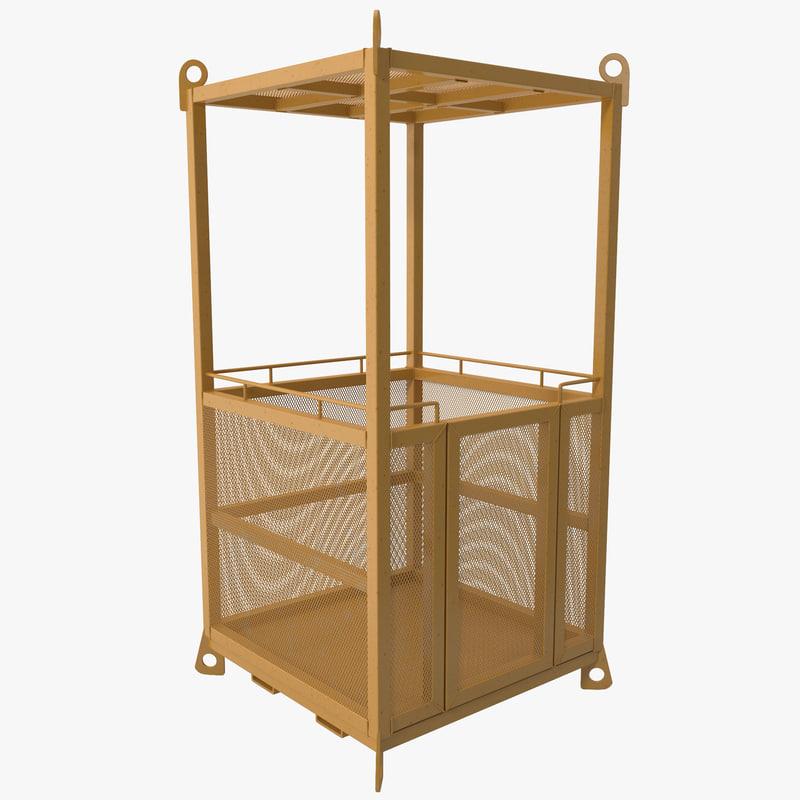 man cage crane basket 3d 3ds