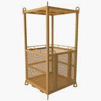 man cage crane basket 3d 3ds