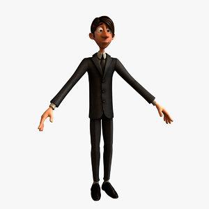 3d model cute functionary man