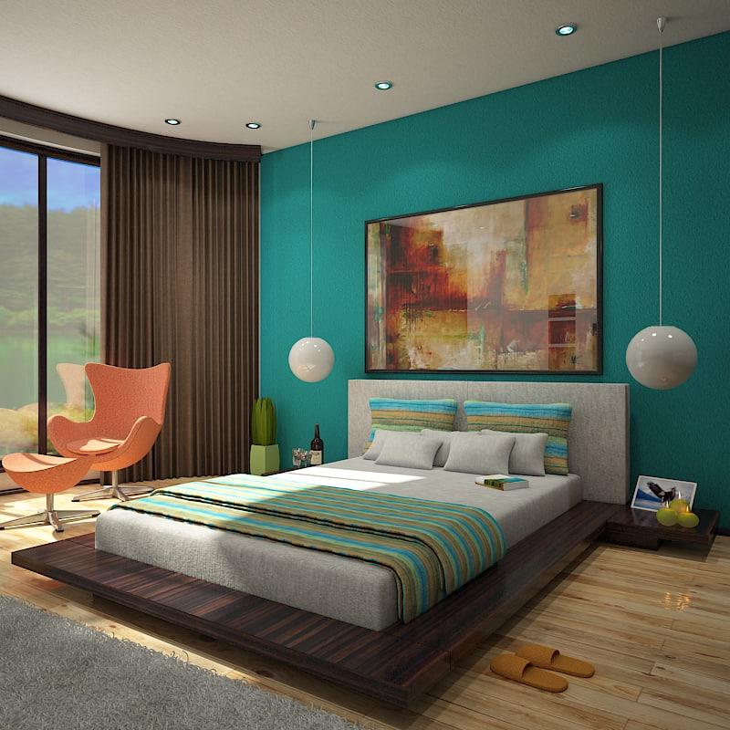 interior scene bedroom 1 3d model