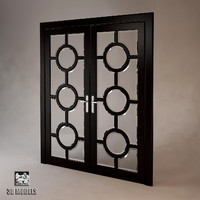 art deco double doors 3d obj