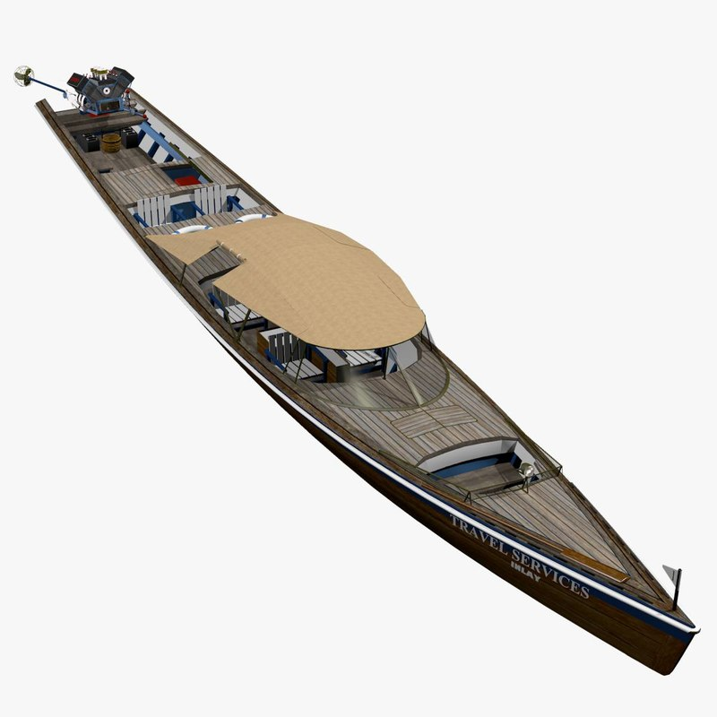 3d model lake long tail canoes