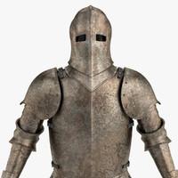 3d model old medieval armor
