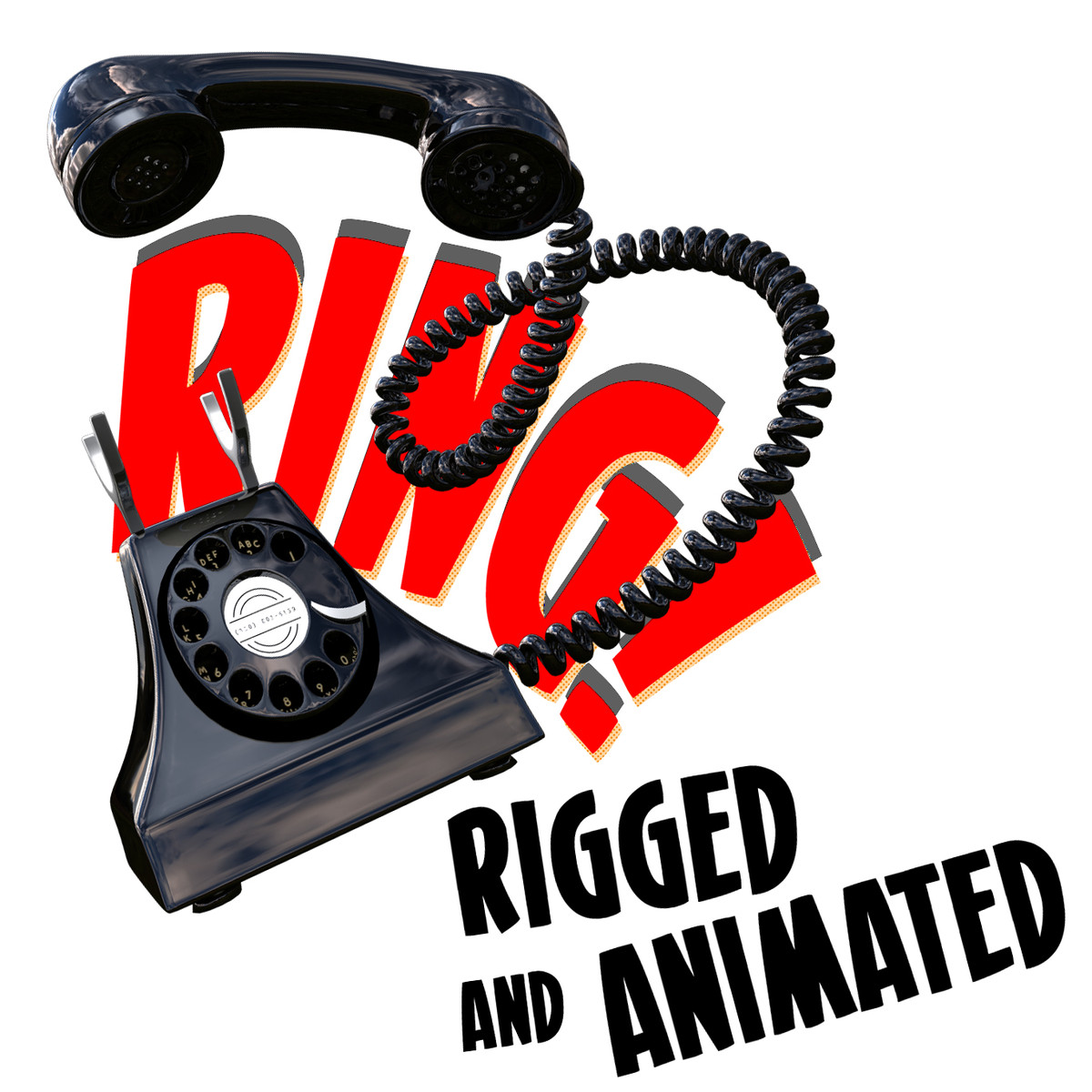 cartoon telephone rig 3d model