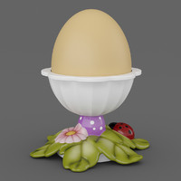 3d model egg cup leaves