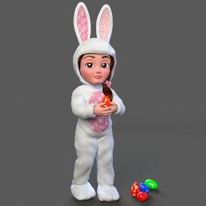3d cartoon little girl rigged model