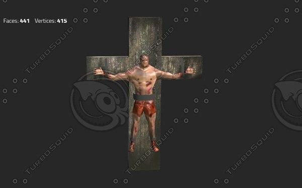 3d model man crucified wooden cross