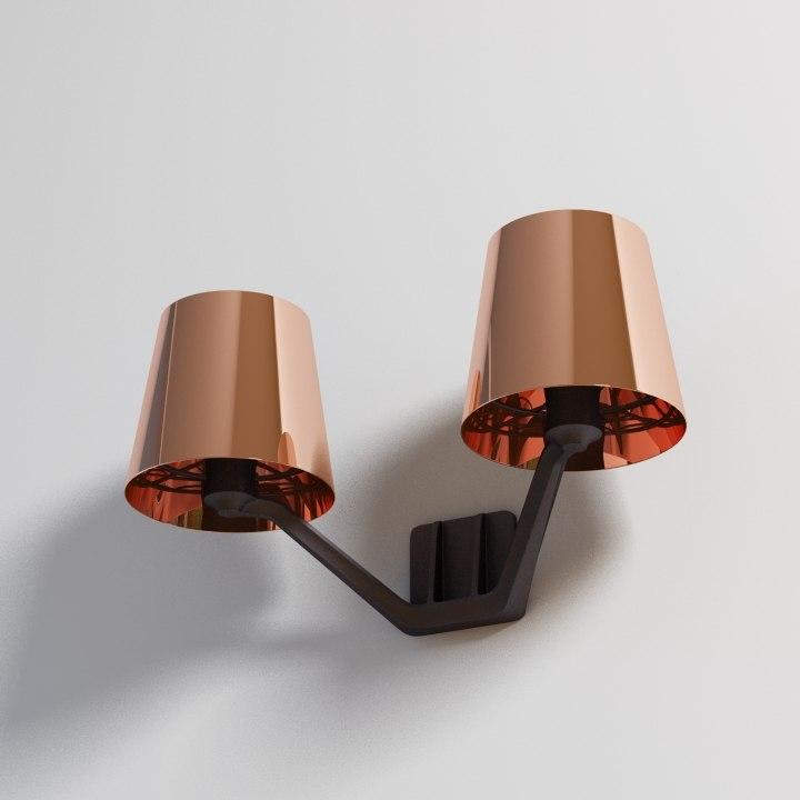 3d copper base wall lamp model