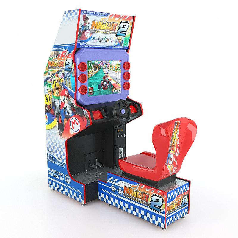 3d model simulator kart racing arcade machine
