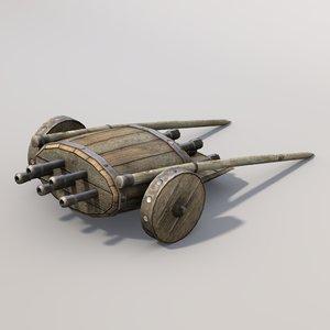 middle ages organ gun games 3d model