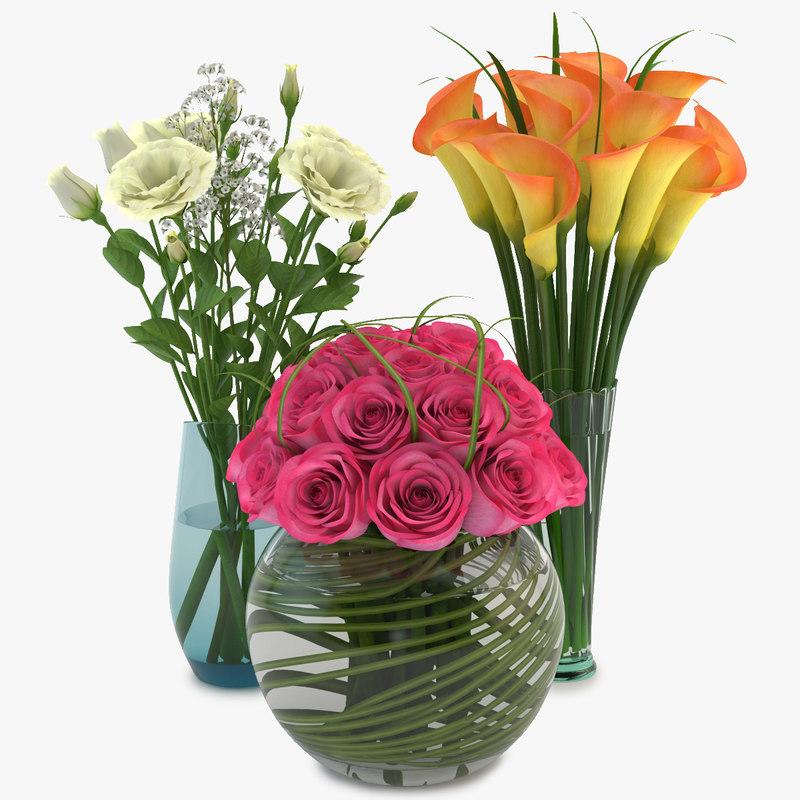 3d model bouquets vase 03