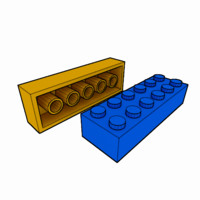 piece lego brick 2x6 3d model