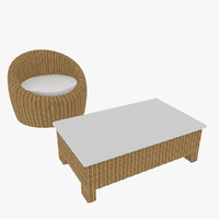 Rattan Chair and Table