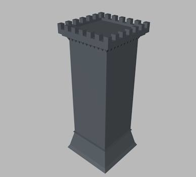 square castle wall tower dxf