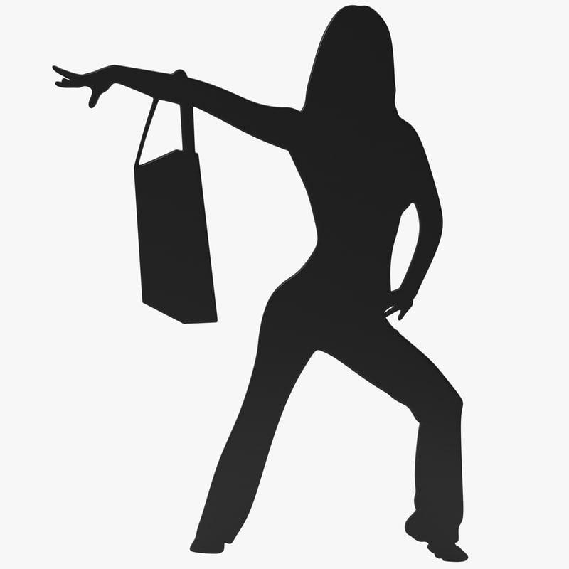 c4d woman bag silhouette