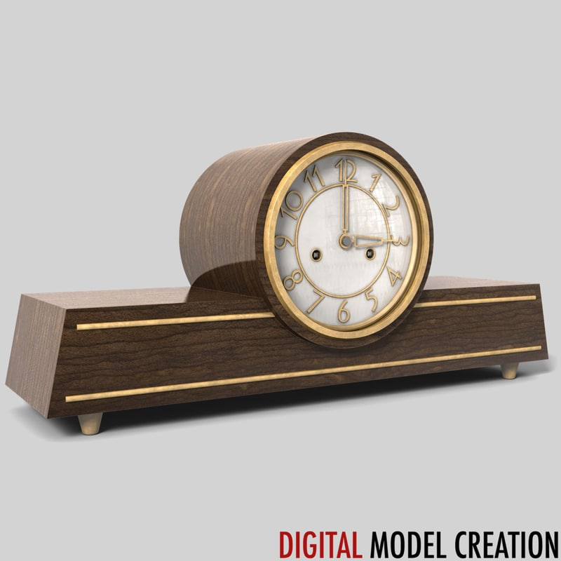 vintage shelf clock obj