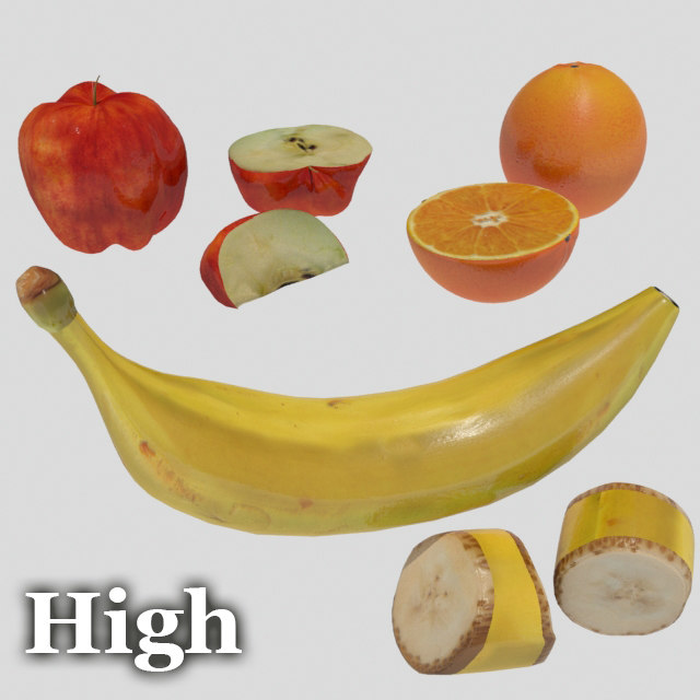 fruit banana apple 3d model