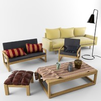 3d model mebel set armchair coffee table