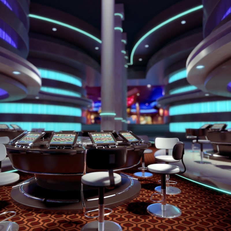 Modern Interior Design Review: 3d Model Of Modern Casino Interior