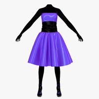 3d dress blue female mannequin model