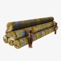 3d timber log
