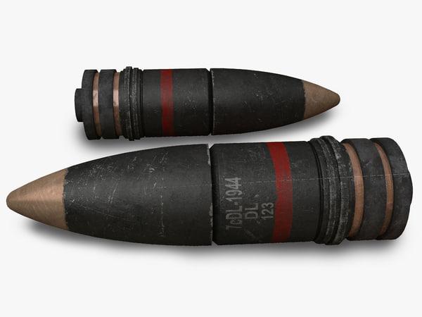 3d artillery projectile model