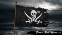 3d model torn pirate flag animation