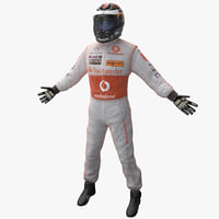 3d model racing driver mercedes rigged