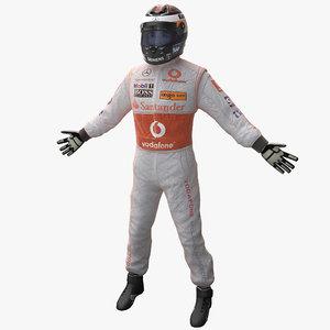3d model racing driver mercedes rigged