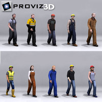 walking workers people 3d max