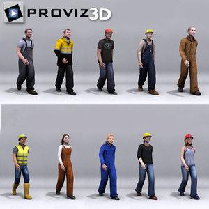 walking workers people 3d max