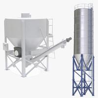 portable cement silos 3d model