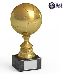 3d model trophy soccer ball