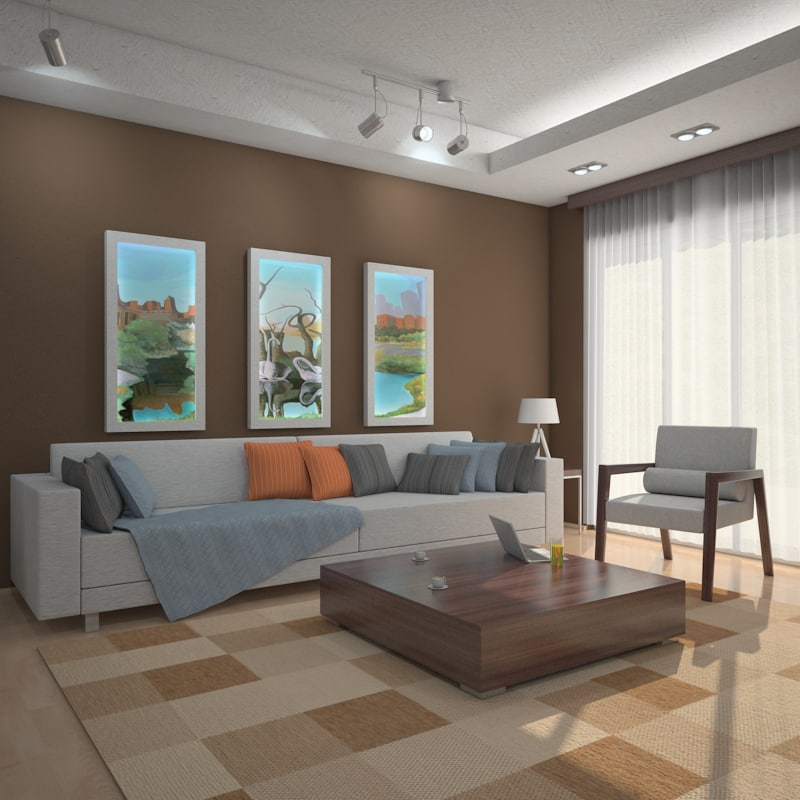 3d interior scene living room