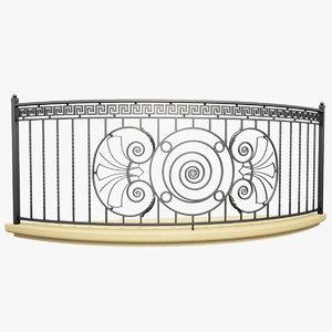 3d wrought iron balcony model