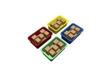 4 colored totes with boxes
