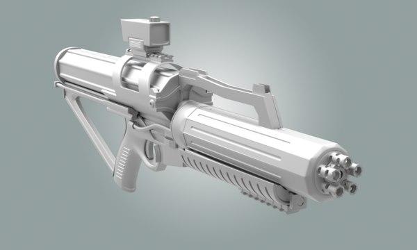 rifle minigun 3d model
