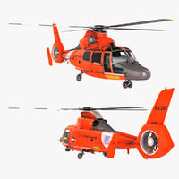 Search and Rescue Helicopter Eurocopter HH-65 Dolphin Rigged