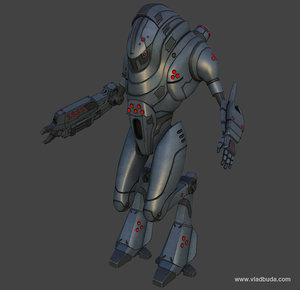 maya sci-fi mech warrior