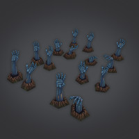 low poly zombie hand pack