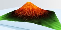 volcano erupted 3d max