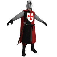 3d model medieval templar knight