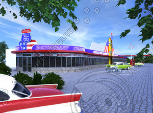 vintage route 66 diner 3d max