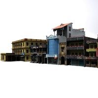 Group of Indian Buildings Low Poly