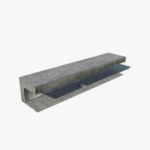 3d modern park bench model